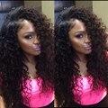 """Странный вьющиеся парик 6 """"-26"""" полный шнурок человеческих волос парики/парик фронта шнурка # 1B монгольские afro kinky фигурные девственные волосы aliexpress великобритании"""