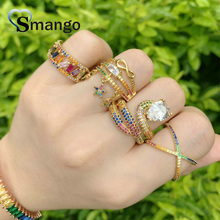 Adjustable Rings, Women Fashion Jewelry, CZ Setting, The Rainbow Series,Snake Shape, Gold Color Plated,5pcs