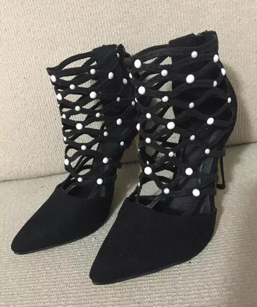 Black Suede Leather Ladies Pointed Toe Boots White Pearl Patchwork Cutout Style Straps Women Fashion High Heel Boots Zipper Back black suede laser cutout midi skirt