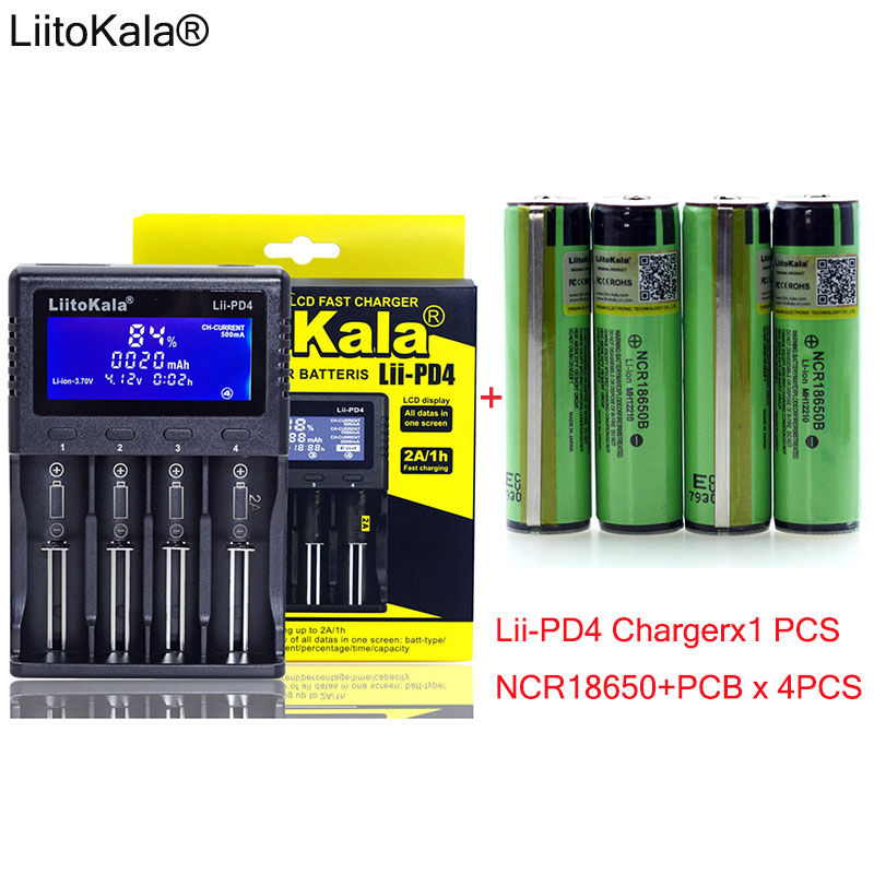 1pcs New LiitoKala lii-PD4 LCD 3.7V 18650 21700 battery Charger+ 4pcs Protection NCR18650B 3400mAh with PCB 3.7V batteries 1pcs new liitokala lii pd4 lcd 3 7v 18650 21700 battery charger 4pcs protection ncr18650b 3400mah with pcb 3 7v batteries