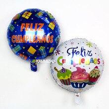 KAMMIZAD Birthday Balloons Spanish Party 50pcs/lot 18inch Aluminium Foil Helium Globos Supplies Wholesale