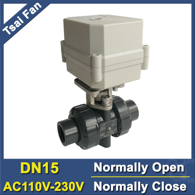 цена DN15 PVC Normal Close / Normal Open Valve TF15-P2-C BSP/NPT 1/2'' AC110V-230V 10NM On/Off 15 Sec Metal Gear