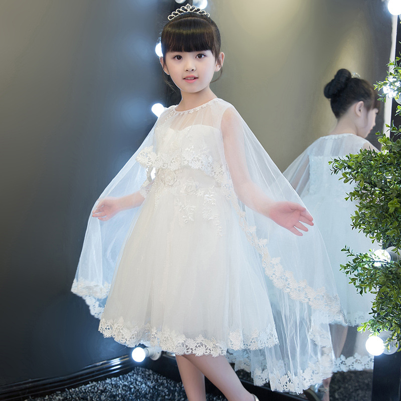 White Appliqued Long Flower Girl Dresses 2019 Lace First Communion Dresses Girls Pageant Dress Kids Prom Dress