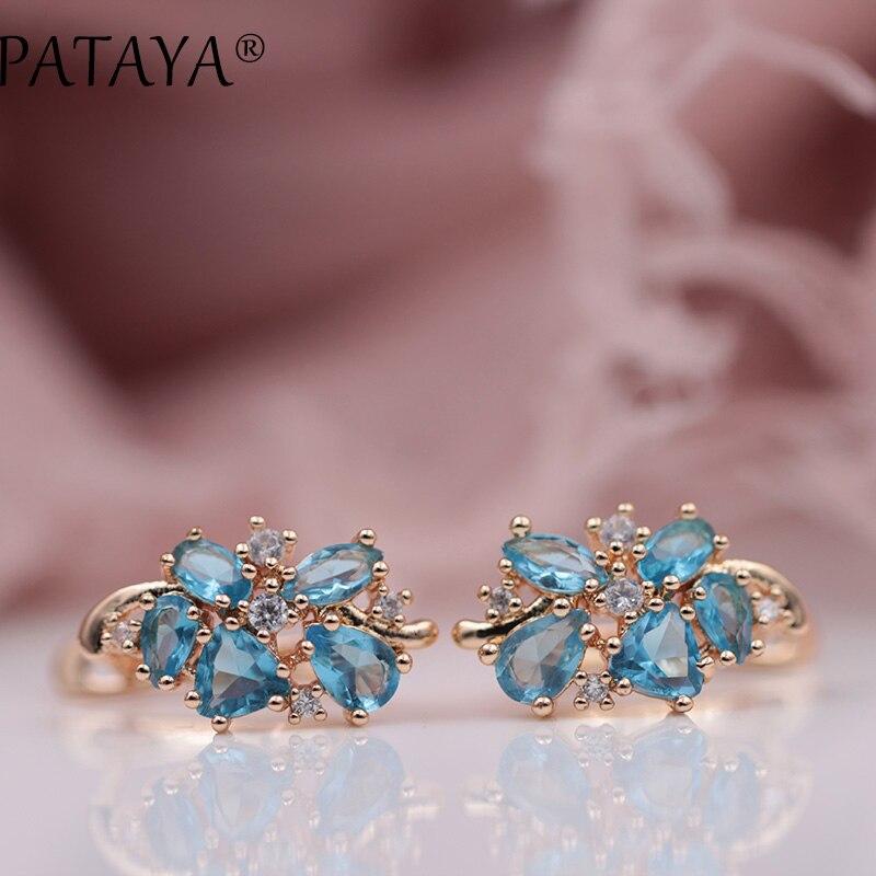 fcee69ff Compre PATAYA Multi Colored Natural Cubic Zirconia Pendientes Largos 585  Rose Gold RU Diseño Exclusivo Hot Jewelry Mujeres Pendientes De Lujo A ...