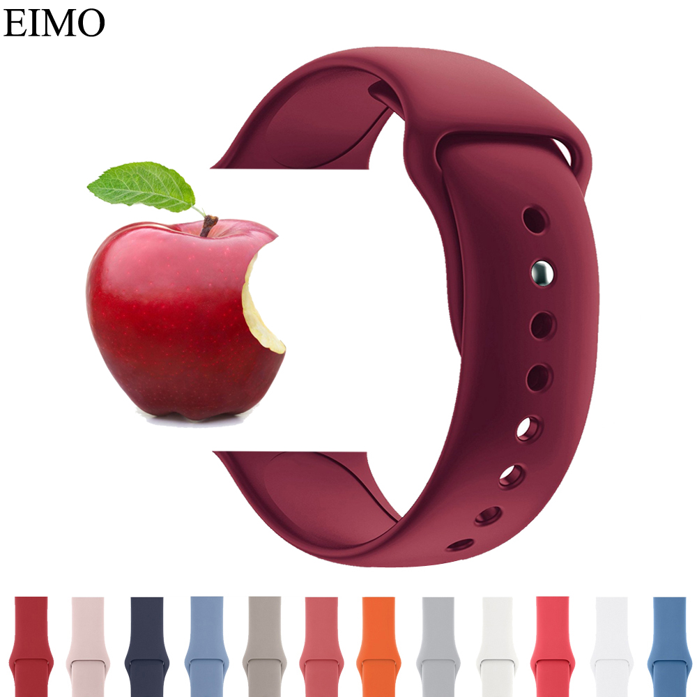 купить Sport Silicone strap For Apple Watch Band 42mm 38mm 40mm 44mm Bracelet Watchbands Straps Iwatch Series 4/3/2/1 Wrist Watch Belt по цене 167.03 рублей