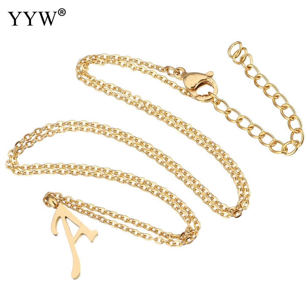88863294586c YYW mujeres hombres oro color acero inoxidable joyería colgante collar  danza letra A Z alfabeto gota colgante gargantilla collar de cadena en  Collares ...