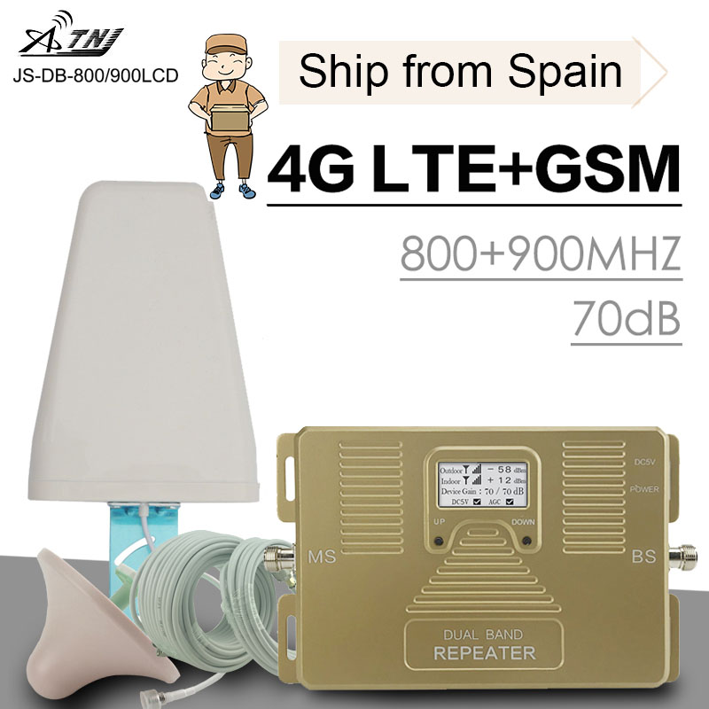 Full Smart 4G LTE 800 Mhz B20 GSM 900 Mhz Mobile Phone Signal Booster GSM LTE 4G Cell Phone Cellular Signal Repeater Amplifier