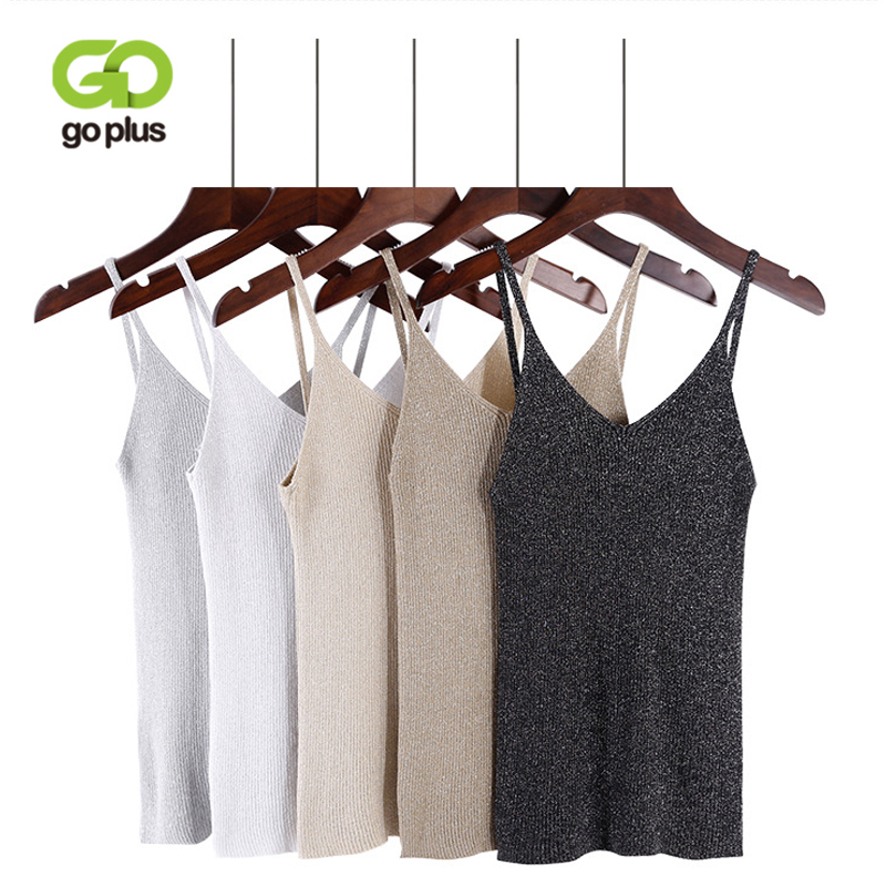 GOPLUS 2018 Summer Sexy Knitted Tank Top Women Crop top Solid Silver V Neck T-shirt Female Sleeveless Vest Casual Camis Blouse