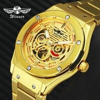 WINNER Chic Royal Style Men Golden Automatic Mechanical Watch 3D Bolt Skeleton Dial Stainless Steel Strap T WINNER Wrist Watch