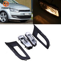 POSSBAY Halogen Car Front Fog Light Lamps for VW Polo MK5 6R/6C 2009 2010 2011 2012 2013 Facelift With Foglamp Hood Covers