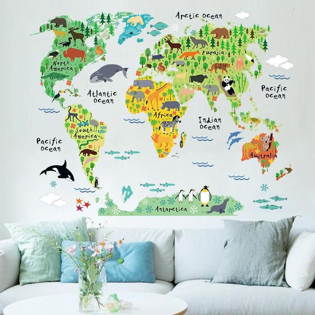 Diy creative cartoon new animal world map wall sticker self adhesive diy creative cartoon new animal world map wall sticker self adhesive wallpaper sticker mural vinyl wall gumiabroncs Image collections