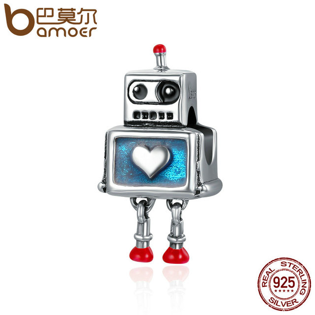 BAMOER Fashion New 100% 925 Sterling Silver Cute Robot Heart Charms fit Charm Br