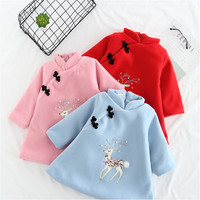 Baby Girls Dress Winter Chinese Style Long Sleeve Cotton Cheongsam Embroidered Thickening Dress For Girls Kids