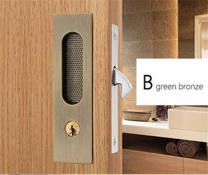 Image 4 - Mute Mortice Sliding Door Lock Hidde Handle Interior Door Pull Lock Modern Anti theft Room Wood Door Lock Furniture Hardware