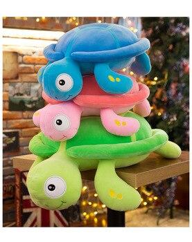 large 70x50cm cartoon tortoise plush toy colourful turtle soft cotton doll sofa cushion hugging pillow christmas gift b2879