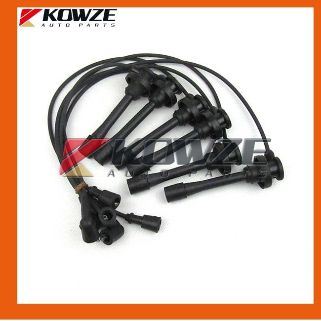 Spark Plug Cable Wires Set for Mitsubishi Pajero Montero Sport Challenger Nativa Triton L200 6G72 6G74 MD371794 power steering oil pump assy for mitsubishi pajero montero shogun ii 3 0 3 5 l v6 6g72 6g74 mr267662 page 5