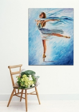 100% Handpainted White Angel Palette Knife Oil Painting Elegant Ballet Dancer Canvas Wall Hangings for Home Office Decoration