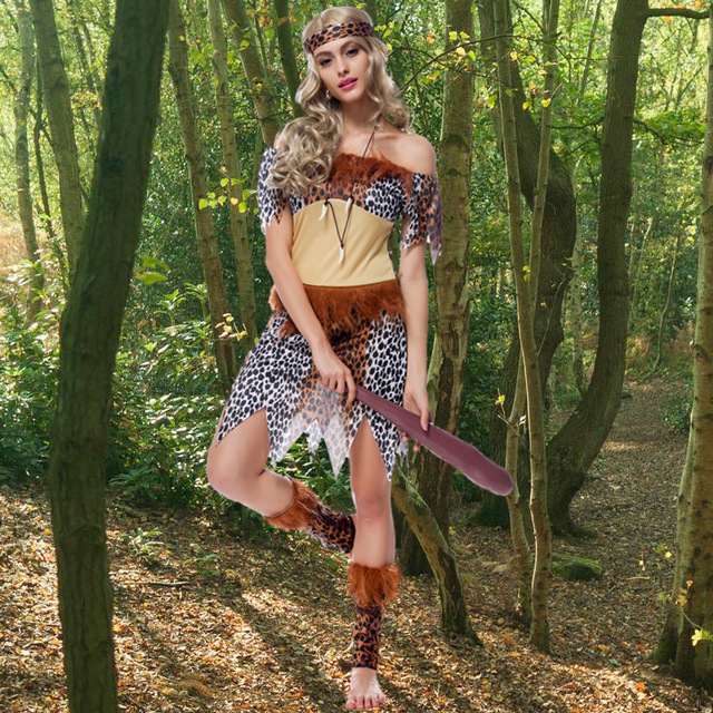 c75dc671244 US $15.11 5% OFF|Sexy Women's Leopard Print Native Indians Princess of  Tribe Role playing Costume Set Cosplay For Halloween Party -in India &  Pakistan ...