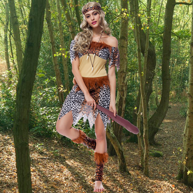 Sexy Women's Leopard Print Native Indians Princess of Tribe Role-playing Costume Set Cosplay For Halloween Party