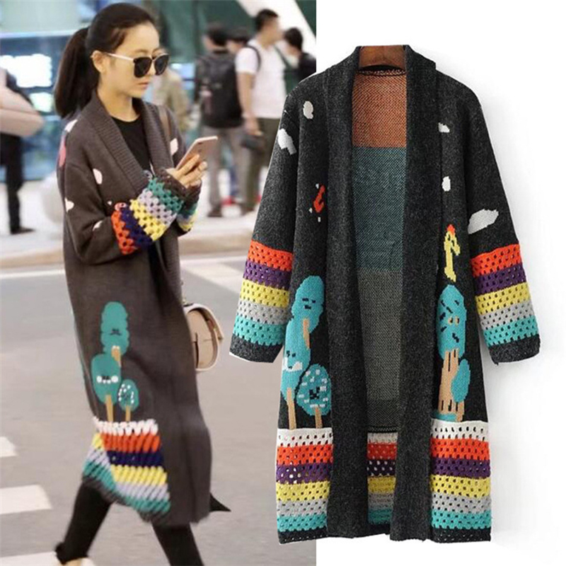 2019 New Women Colorful Hollow Jacquard Contrast Color Sweater Cardigan Coat Female Loose Thicken Long Sleeve Autumn Winter Tide