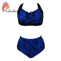 Andzhelika Plus Size Swimsuit Women New Print Bikinis Set Padded Sexy Fold Drawstring Mid Waist Bathing