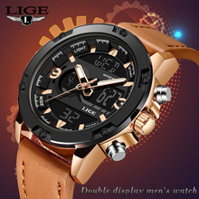 LIGE New Luxury Analog Digital Quartz Watch Brand Casual Men Style Waterproof Sport Military Watches Relogio Masculino+Box