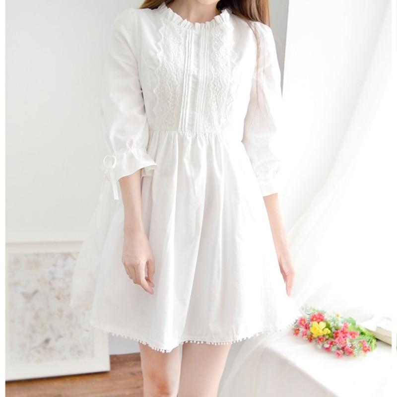 Модное платье на бретельках с длинными рукавами и завязками, белое кружевное платье, милое платье на весну и осень|Платья|   | АлиЭкспресс