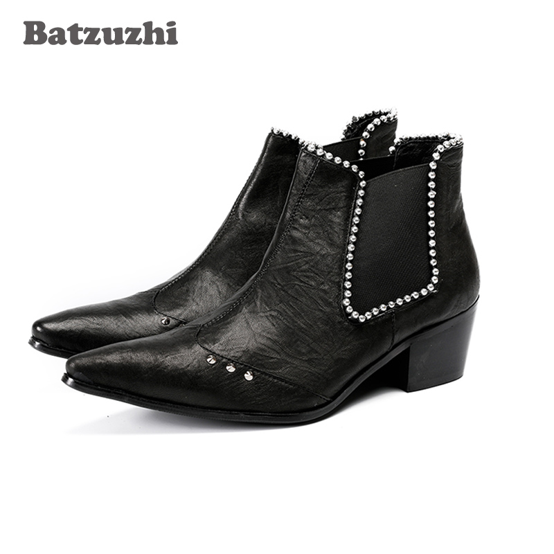 Batzuzhi 6.5cm Heel Boots Men Pointed Toe Black Leather Ankle Boots with Crystals Mens Party Dress Shoes Botas Hombre,US12 EU46Batzuzhi 6.5cm Heel Boots Men Pointed Toe Black Leather Ankle Boots with Crystals Mens Party Dress Shoes Botas Hombre,US12 EU46