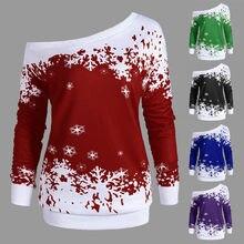 7687e6add7897 Merry Christmas Women Blouse Shirts Santa Snowflake Printed Long Sleeve  Blouse Female Off Shoulder Pullover Tops