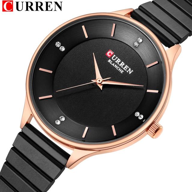 CURREN reloj con diamantes de imitación para mujer, pulsera de acero inoxidable, de cuarzo, femenino, 2018