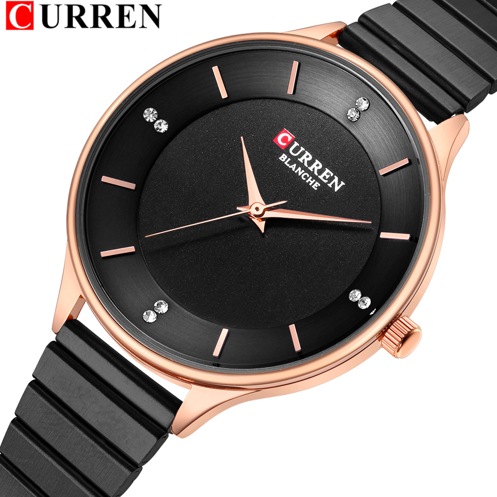 Rhinestone Watch For Women 2018 CURREN Women's Stainless Steel Bracelet Watches Fashion Ladies Quartz Wristwatch Female Clock
