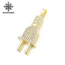 Men Hip Hop Jewelry Plug Pendant Paved Bling Bling Crystal Gold Silver  Color Charm Fashion Necklace Chain Stainless Steel fe0f7bbdcf1d