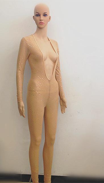 Cantante femenina dj láser paillette traje mono de una sola pieza del mono de lentejuelas ropa traje de la danza rendimiento de desgaste Leotardo