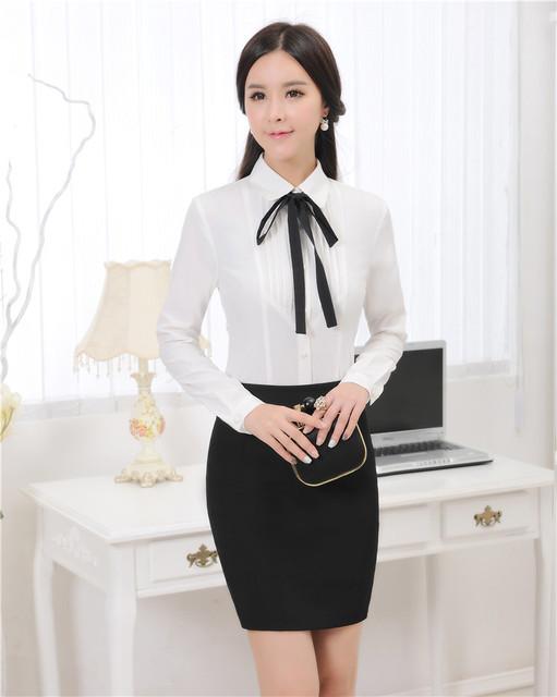 2015 Primavera Outono Trabalho Feminino Ternos Com Saia E Blusas Conjuntos de Roupas Uniformes Ladies Escritório Shirts Tops Plus Size 3XL