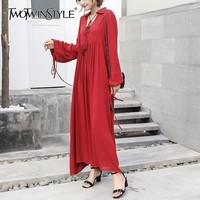 TWOTWINSTYLE 2017 Women Lace up Red Maxi Dresses Sexy V Neck Long Sleeves Big Sizes Boho Robe Long Beach Clothes Vintage