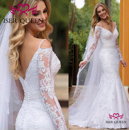American Vintage Long Sleeves With Embroidery Wedding Dresses Tulle V-neck Sashes Button Illusion Mermaid Wedding Dress  W0596