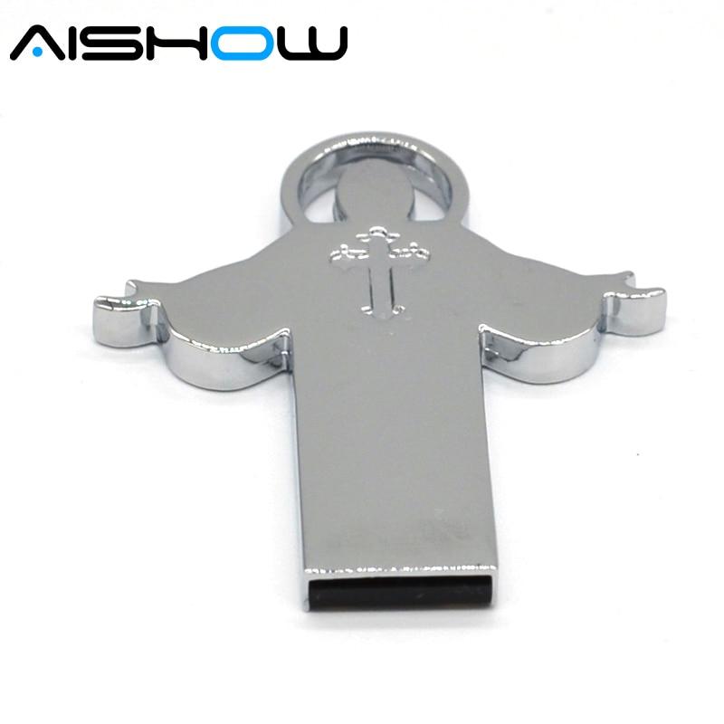 2016 Silver color Jesus Cross Bible Metal USB Flash drive 64GB 32GB 8GB God Bless Jesus shines Pen disk memory stick 16GB U disk
