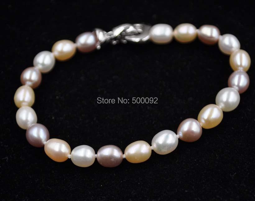 Wholesale 10 Qty fine freshwater cultured pearl bracelets whitepinkpurple