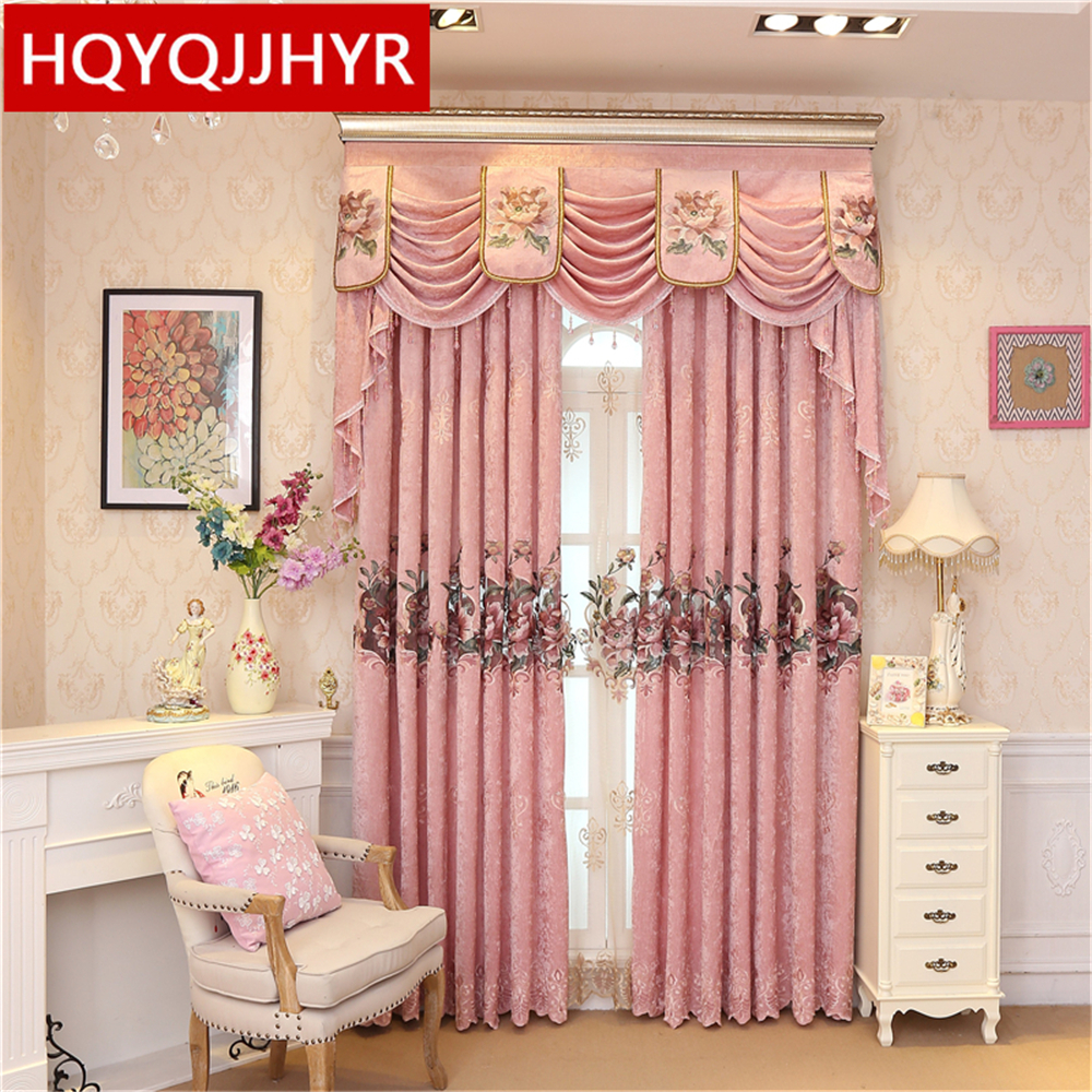 Nice New European Chenille Embroidery Luxury Blackout Curtains For Living Room  High End Villa Pink Luxury Bedroom/ Kitchen Curtains