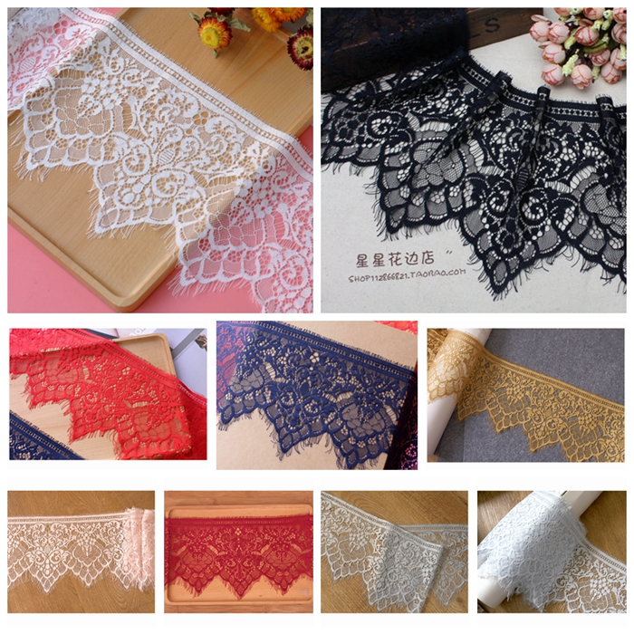 3 meters / lot 18cm wide Good quality eyelash lace DIY coser Underwear vest Clothing splicing accessories Handmade sewing fabric
