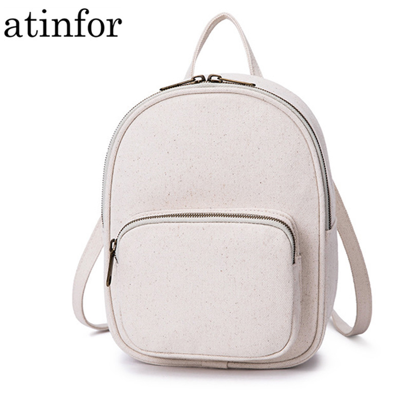 Fashion Cotton Canvas Women Mini Backpack Solid Color Lady Travel Daily Small Bagpack Korean Girl KnapsackFashion Cotton Canvas Women Mini Backpack Solid Color Lady Travel Daily Small Bagpack Korean Girl Knapsack