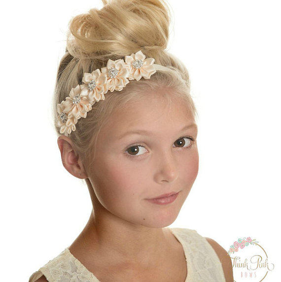 Lovely Baby Girls Satin Flower Headband Best Birthday Party Gift Floral Hair Band Fashion Accessories Photography Prop