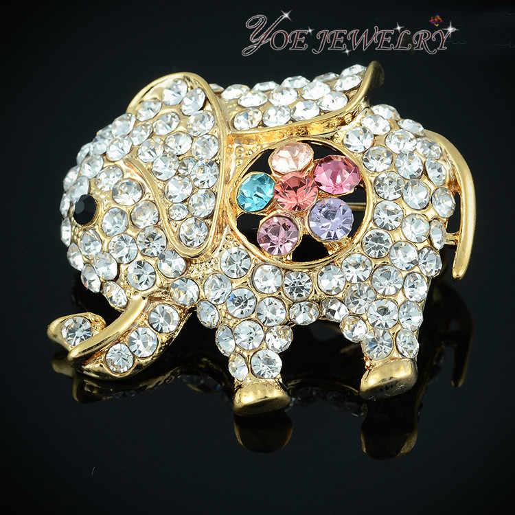 Iyoe Hot Jual Natal Hadiah Perak/Emas Warna Hewan Gajah Lucu Bros Fashion Wanita Pernikahan Pin Bros Perhiasan