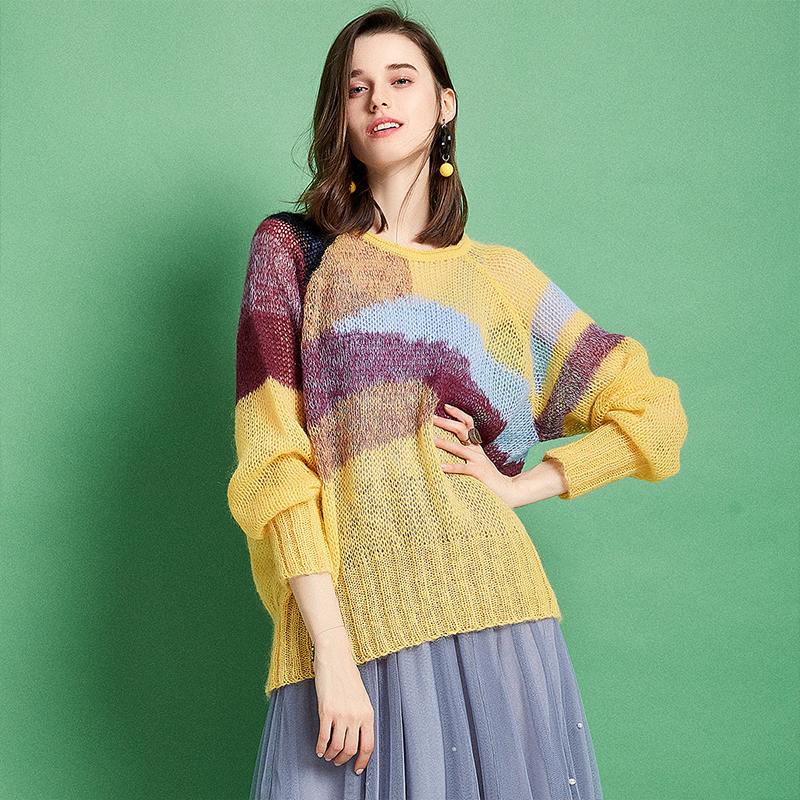 ARTKA 2019 Spring New Women Knitwear Thin Long Sleeve Casual Loose O Neck Pullovers Tide Color Mohair Soft Sweater YB10495C-in Pullovers from Women's Clothing    1