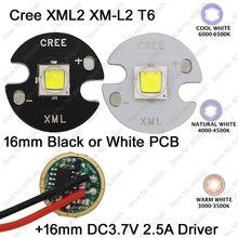 Cree XML2 XM-L2 T6 10W High Power LED Emitter Cool White Neutral White Warm White 16mm Black or White PCB + DC3.7V 2.5A Driver