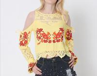 KL650 Women Elegant Red Floral Embroidery Crop Top Fashion Off Shoulder Flare Sleeve Lace Tee T