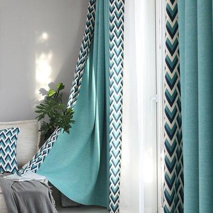 Sur mesure français fenêtre rideau couverture Dressing Ins vague européenne géométrique 2 m x 2.6 m 2 pièces lac bleu kaki gris - 4