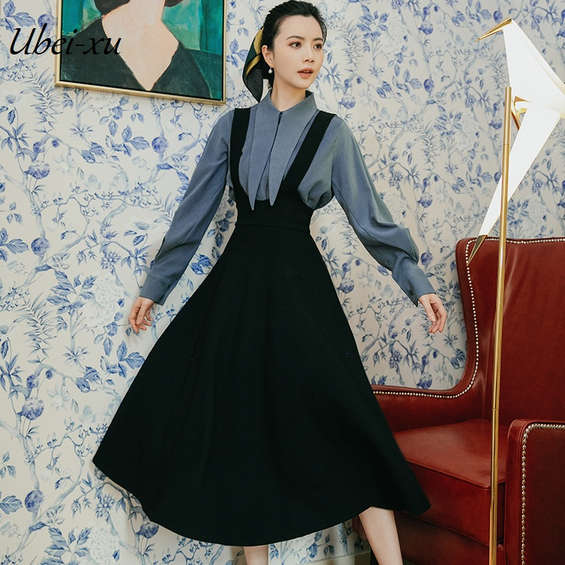 Ubei Fahion French retro dress set spring new slim blue bow collar shirt with slip skirt