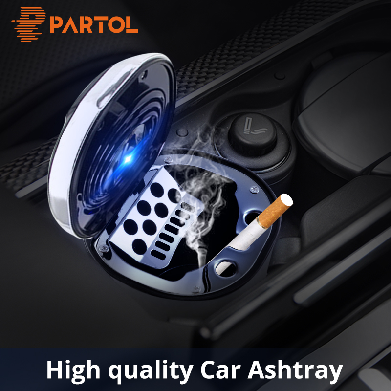 Partol Car Ashtray Blue LED Light Cigar Cigarette Ashtray Smokeless with USB Charge Cable Smoke Ash Cylinder Smoke Cup Hold