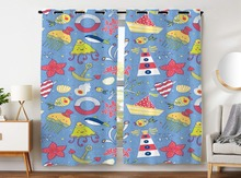Blackout Curtains 2 Panels Grommet for Bedroom Cartoon Marine Theme Boat Lighthouse Fish Anchor Coral
